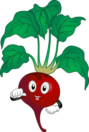 beetroot: Illustration of a Red Beetroot Mascot pointing to self