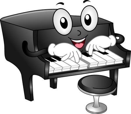 music design: Ilustraci�n de la mascota del piano de cola con el taburete del piano tocando algunas notas