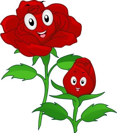 anthropomorphic: Illustration of Red Rose Mascots in Bud and Full Bloom