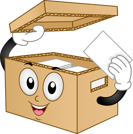 storing: Illustration of Carton Box Mascot holding a card with lid open