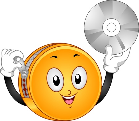 Illustration of DVD Binder holding its zipper on one hand and holding a compact disc on the another illustration