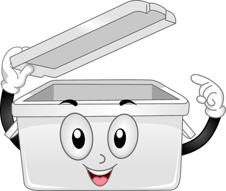 storage bin: Illustration of Plastic Storage Bin Mascot with Open Lid