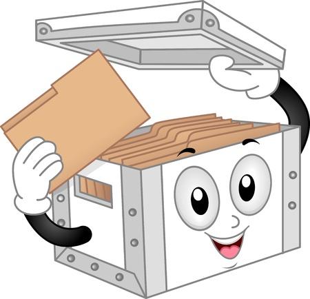 file box: Illustration of Storage Box Mascot with Folder full of File Folders