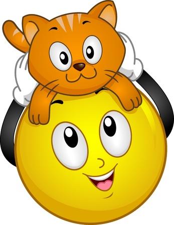 tierschutz: Illustration von Smiley h�lt eine Katze �ber dem Kopf