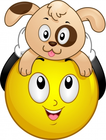Illustration of a Smiley holding a Pet Dog above its Head illustration