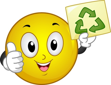 green smiley face: Illustration of Smiley with thumbs up holding a Recycle sign