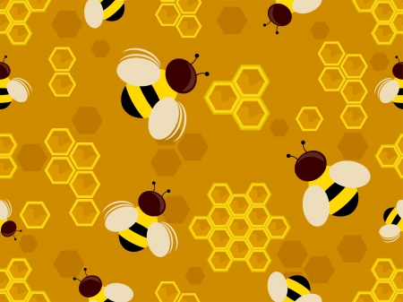 Background Illustration of Honey Bees in a Honeycomb illustration