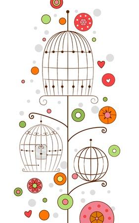 nook: Background Design Illustration of Bird Cages