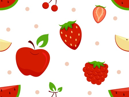 Background Illustration of Different Red Fruits Stock Illustration - 18619970