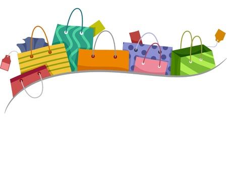 ショッピング バッグ ボーダーのイラスト 写真素材