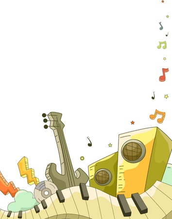 Illustration of Background Illustration of Music Elements Doodle Design illustration