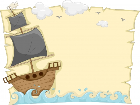 pirate boat: Background Illustration of a Pirate Ship sailing on the sea tossed by waves Stock Photo