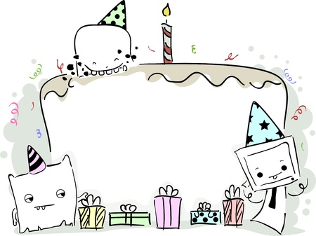 Illustration of a Birthday Frame Featuring Cute Little Monsters Stock Illustration - 18834962