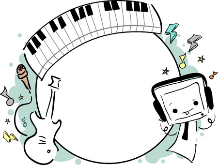 Illustration of a Music Frame Featuring a Cute Little Monster