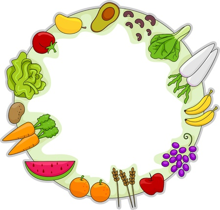Frame Illustration Featuring Different Fruits and Vegetables illustration