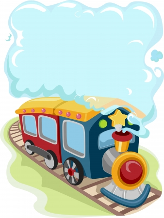 emitting: Illustration of a Locomotive Train Toy Emitting Smoke for Background