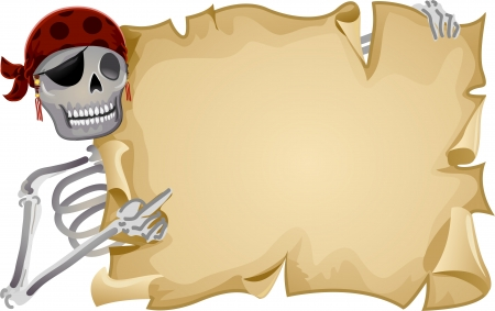 Frame Illustration Featuring a Pirate Holding a Blank Scroll Stock Photo