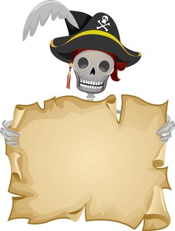 sombrero pirata: Ilustración Frame Con un pirata con un rollo en blanco