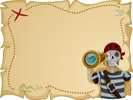 Frame Illustration Featuring a Pirate Standing in Front of a Treasure Map Stock Photo
