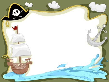Background Illustration of a Pirate Ship Sailing in the Ocean Stock Illustration - 18834966