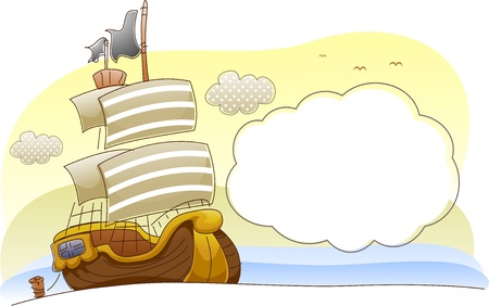 galley: Background Illustration of a Pirate Ship Sailing in the Ocean