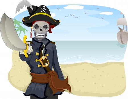 island clipart: Illustration of a Uniformed Pirate Pointing with His Sword Raised
