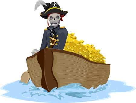 transporting: Illustration of a Uniformed Pirate Transporting Gold