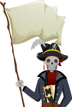 allegiance: Illustration of a Pirate Skeleton Waving a Blank Flag