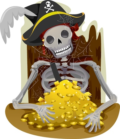 guarding: Illustration of a Pirates Skeleton Guarding a Heap of Gold