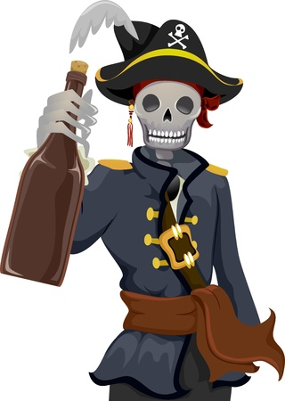 rhum: Illustration of a Uniformed Pirate Holding a Bottle of Rhum