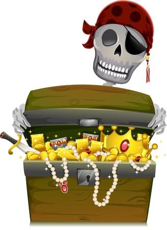 cofre del tesoro: Ilustración de un esqueleto pirata Abrir un cofre del tesoro