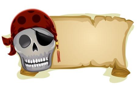 calavera pirata: Ilustraci�n de un cr�neo del pirata de pie junto a una bandera en blanco