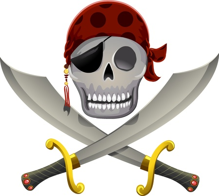 Illustration of a Pirate Skull Resting a Little Above a Pair of Swords illustration