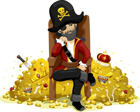 guarding: Illustration of a Pirate Guarding a Huge Pile of Gold Stock Photo