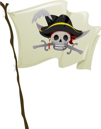sombrero pirata: Ilustraci�n de una bandera pirata ondea en el viento