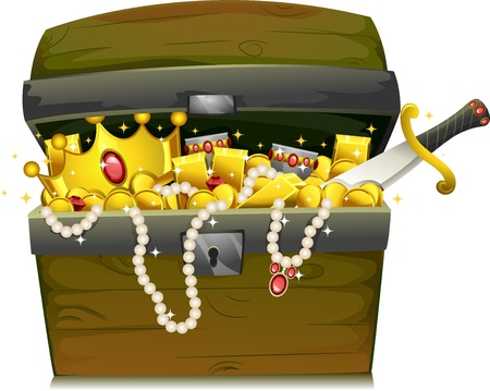 cofre del tesoro: Ilustración de un cofre del tesoro lleno de oro y joyas