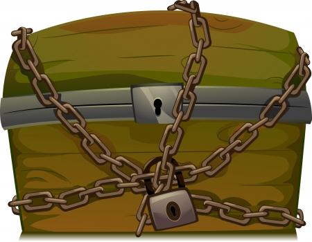 cofre del tesoro: Ilustraci�n de un cofre del tesoro asegurado con una cadena y candado Foto de archivo