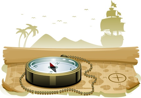 barco pirata: Ilustraci�n de una br�jula se sienta encima de un mapa del tesoro