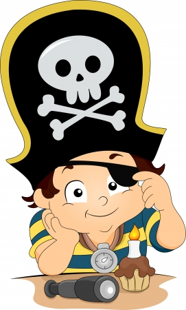 Illustration of a Boy celebrating his birthday wearing a Pirate Hat and Eyepatch illustration