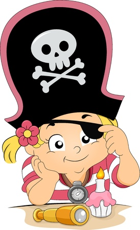pirate girl: Illustration of a Girl celebrating his birthday wearing a Pirate Hat and Eyepatch Stock Photo