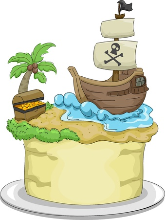 Illustration of a cake with a Pirate theme illustration