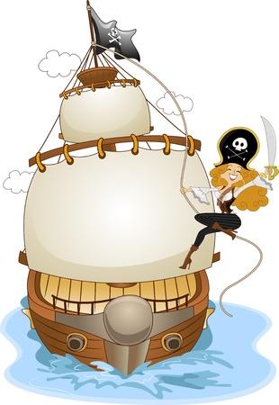 mujer pirata: Ilustraci�n de la un sonriente Chica Pirate Pinup hace pivotar en un cuerda de un Ship Pirate