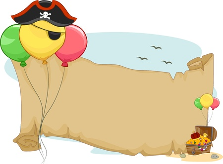 pirates: Illustration of a Pirate Party Scroll with Balloons