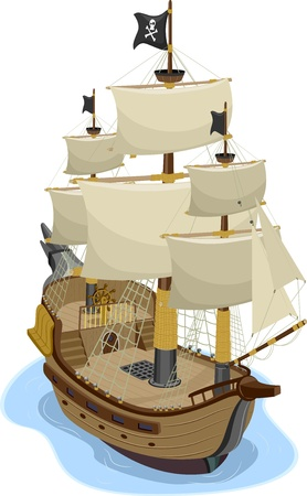 booty pirate: Illustration of Pirate Ship in two-point perspective