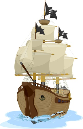 Illustration of a Pirate Ship sailing on water viewed on one point perspective illustration