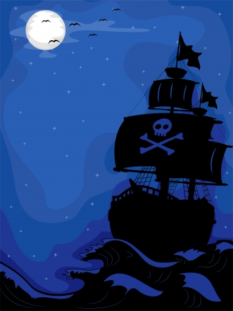 pirate boat: Illustration of a Pirate Ship sailing at Night