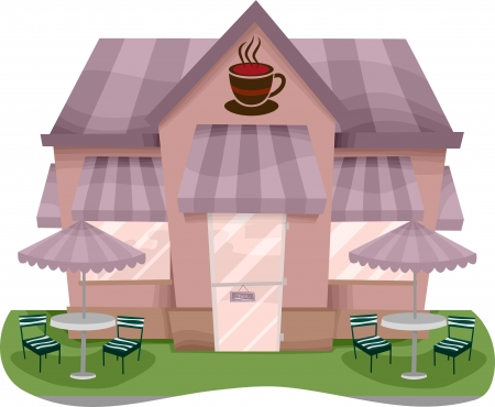 persepective: Illustration of a Coffee Shop Facade Stock Photo