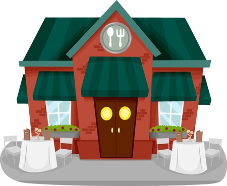 front angle: Illustration of a Restaurant Facade with Tables and Chairs