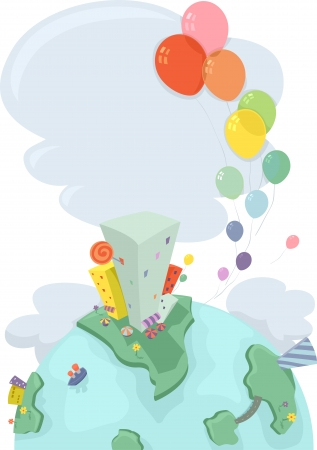 kiddie: Illustration of Earth showing an Urban Scene with buildings and Balloons Flying in the Air