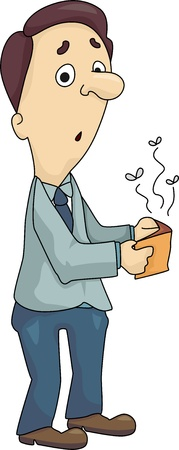 penniless: Illustration of a man holding his emtpy wallet